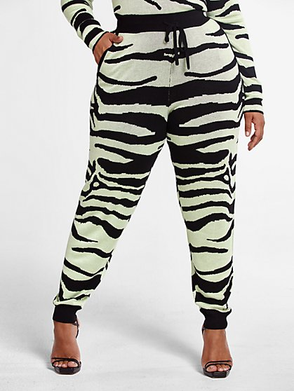 Plus Size Tara Zebra Print Joggers - Fashion To Figure