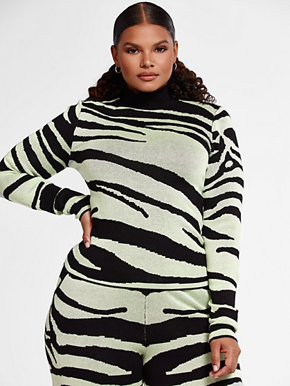 Plus Size Tara Zebra Print Mockneck Top - Fashion To Figure