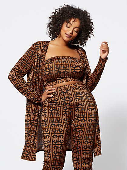 Plus Size Taraji Geo Print Jacket - Fashion To Figure