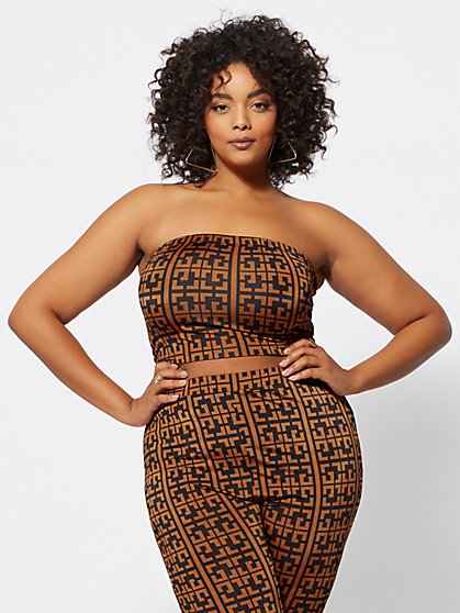 Plus Size Taraji Geo-Print Tube Top - Fashion To Figure