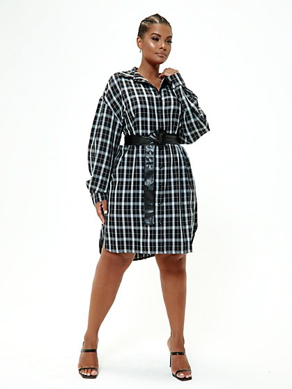 Plus Size Tasha Plaid Shirt Dress - Fashion To Figure