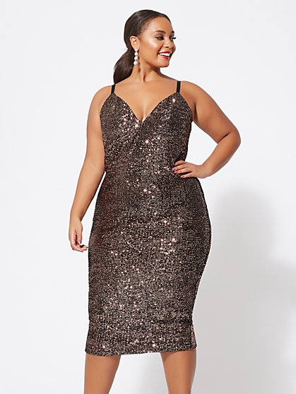 Plus Size Tasha Sequin Knit Tank Dress - Fashion To Figure