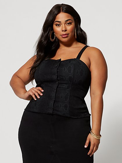 Plus Size Tatianna Snake Print Denim Tank - Fashion To Figure