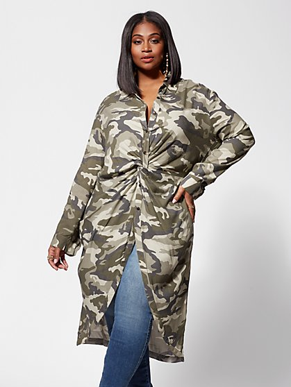 Plus Size Taylor Camo Twist-Front Tunic - Fashion To Figure