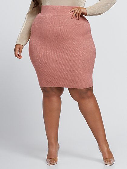 Plus Size Taylor Sparkly Knit Pencil Skirt - Fashion To Figure