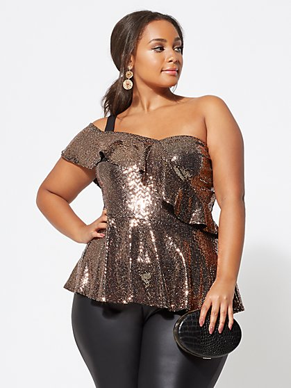 Plus Size Teagan Gold Peplum Top - Fashion To Figure