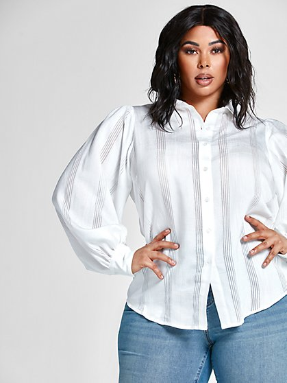 Plus Size Teairra Burnout Stripe Shirt - Fashion To Figure