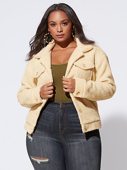 Plus Size Teddy Sherpa Trucker Jacket - Fashion To Figure