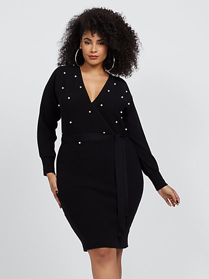 Plus Size Teresa Faux-Pearl Sweater Dress - Fashion To Figure