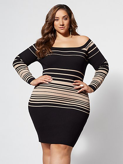 Plus Size Terri Off-Shoulder Sweater Dress - Fashion To Figure