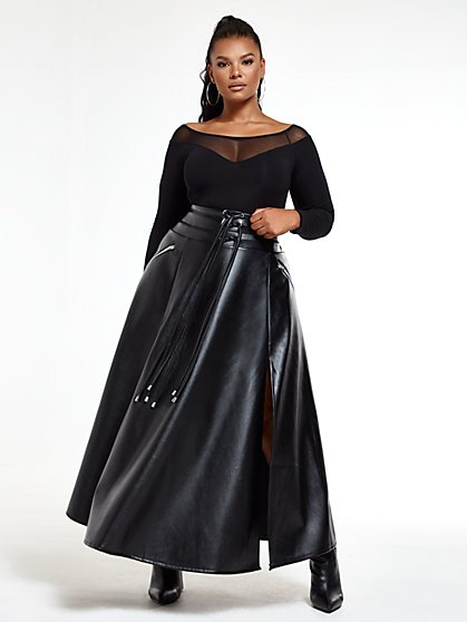 Plus Size Tessa Faux Leather Maxi Skirt - Fashion To Figure
