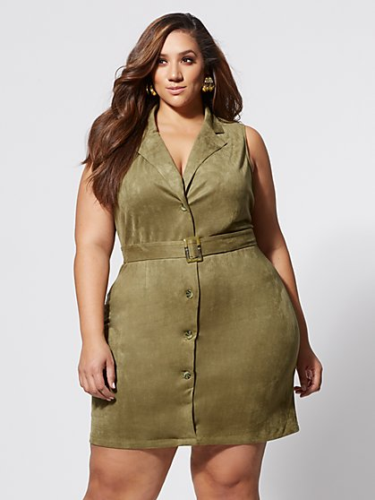 Plus Size Tessa Faux-Suede Belted Dress - Fashion To Figure
