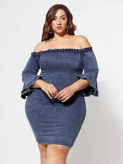 Plus Size Thalia Off-Shoulder Denim Dress - Fashion To Figure