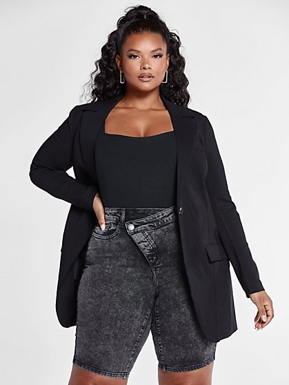 Plus Size The City Blazer in Black - Fashion To Figure