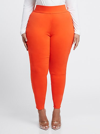 Plus Size The City Orange Pull-On Pants - Fashion To Figure