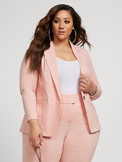 Plus Size The City Pink Blazer - Fashion To Figure