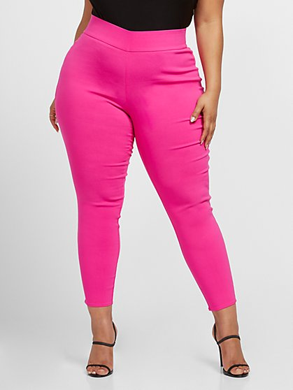 Plus Size The City Pink Pull-on Pants - Fashion To Figure