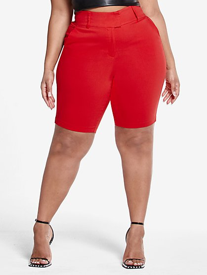 Plus Size The City Shorts in Red - Fashion To Figure
