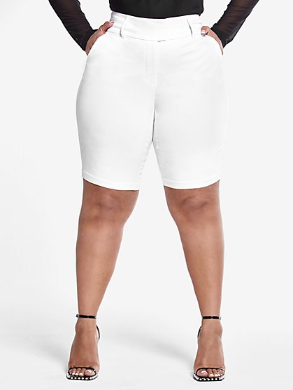 Plus Size The City Shorts in White - Fashion To Figure