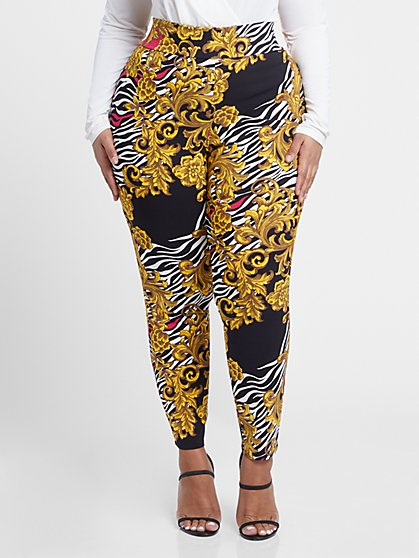 Plus Size The City Zebra Scroll Print Pull-On Pants - Fashion To Figure