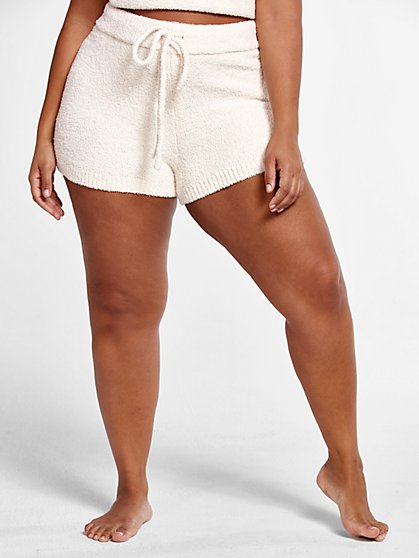 Plus Size The Cuddle Booty Shorts in Ivory - Fashion To Figure
