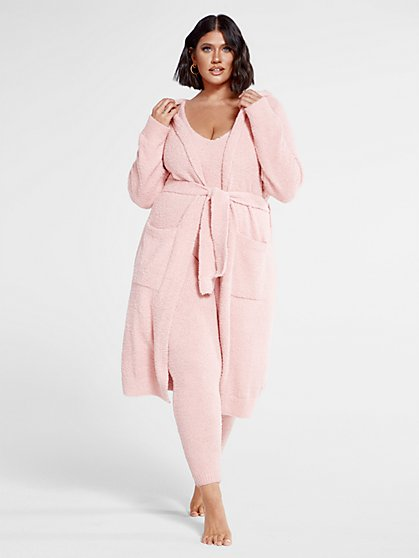 Plus Size The Cuddle Cardigan in Blush - Fashion To Figure