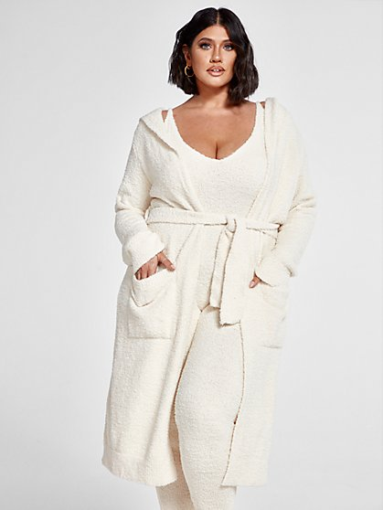 Plus Size The Cuddle Cardigan in Ivory - Fashion To Figure