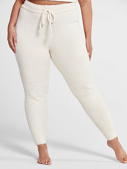 Plus Size The Cuddle Joggers in Ivory - Fashion To Figure