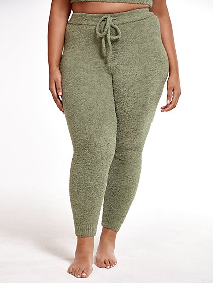 Plus Size The Cuddle Joggers in Olive - Fashion To Figure
