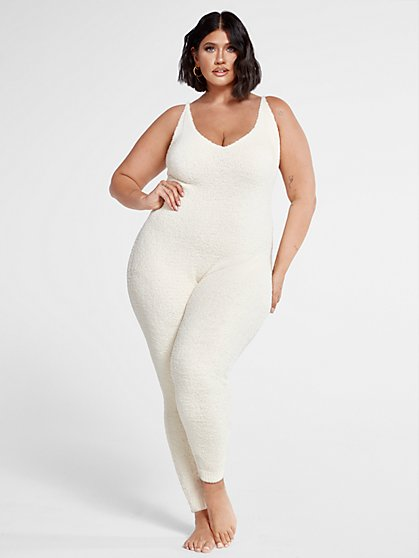 Plus Size The Cuddle Jumpsuit in Ivory - Fashion To Figure