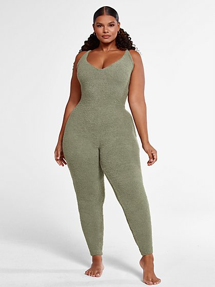 Plus Size The Cuddle Jumpsuit in Olive - Fashion To Figure