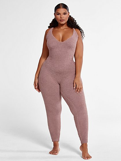 Plus Size The Cuddle Jumpsuit in Taupe - Fashion To Figure