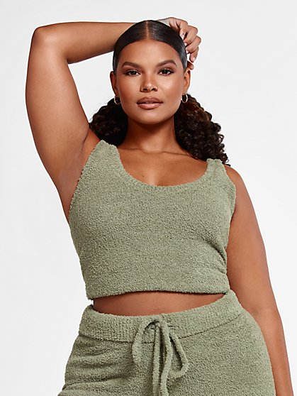 Plus Size The Cuddle Tank in Olive - Fashion To Figure