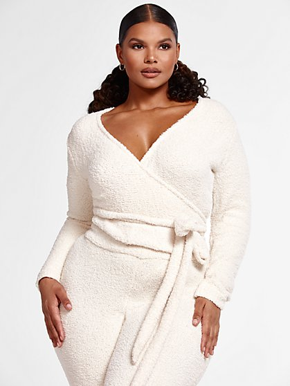 Plus Size The Cuddle Wrap Sweater in Ivory - Fashion To Figure