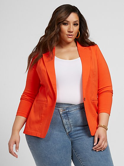 Plus Size The Orange-Red City Blazer - Fashion To Figure