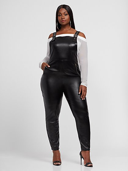 Plus Size Thea Faux-Leather Overalls - Fashion To Figure