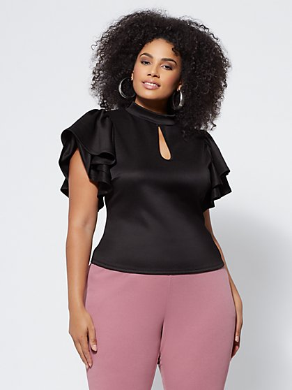 Plus Size Theresa Flutter-Sleeve Top - Fashion To Figure