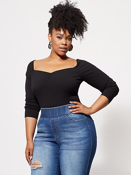 Plus Size Tia Ribbed Knit Top - Fashion To Figure