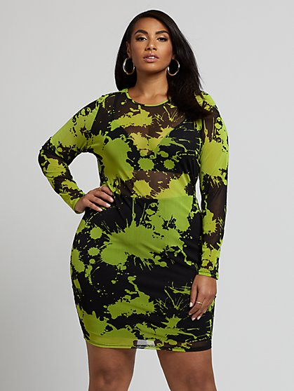 Plus Size Tiana Mesh Print Dress - Fashion To Figure