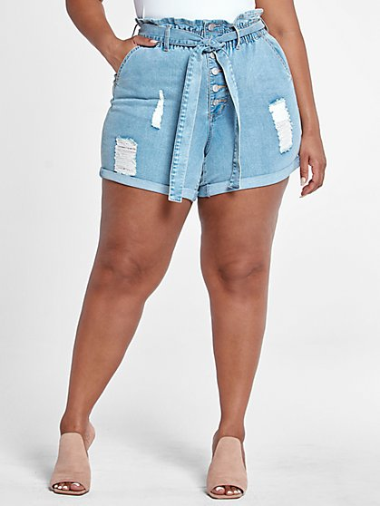 Plus Size Tie Waist Destructed Cuffed Shorts with Button Fly - Fashion To Figure