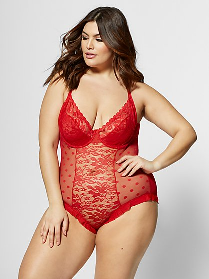 Plus Size Tiffany Lace Lingerie Bodysuit - Fashion To Figure