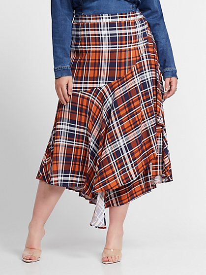 Plus Size Tilly Plaid Ruffle Midi Skirt - Fashion To Figure