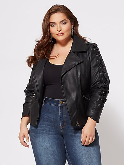 Plus Size Tish Lace-Up Moto Jacket - Fashion To Figure