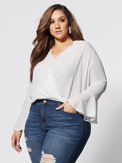 Plus Size Toni Bell-Sleeve Blouse - Fashion To Figure
