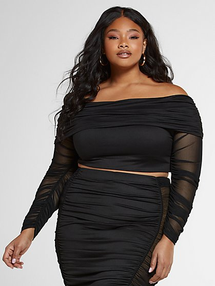 Plus Size Toni Off The Shoulder Ruched Top - Fashion To Figure