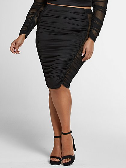 Plus Size Toni Ruched Skirt with Mesh Side Panels - Fashion To Figure