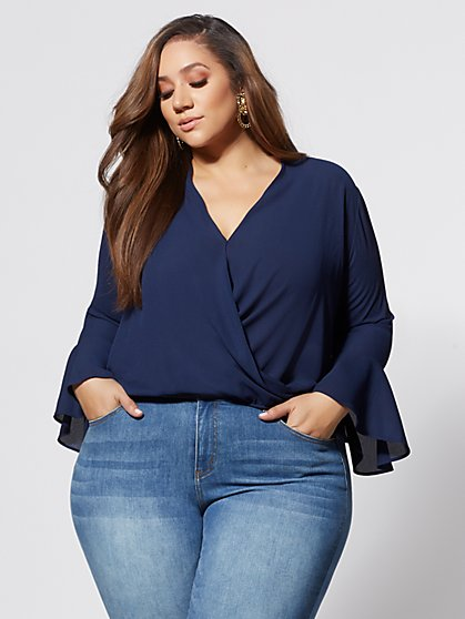 Plus Size Toni Wrap Bell Sleeve Blouse - Fashion To Figure