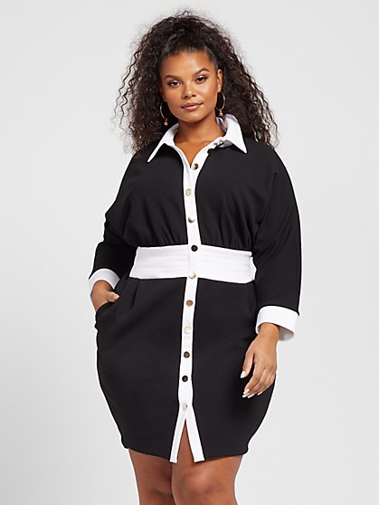 Plus Size Tricia Colorblock Button Front Dress - Gabrielle Union x FTF - Fashion To Figure
