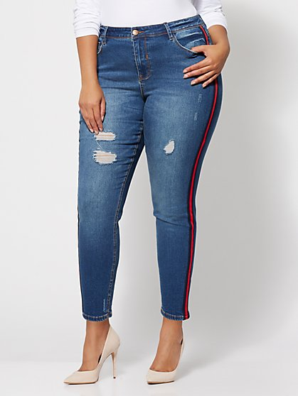 Plus Size Trim-Accented Skinny Jeans - Fashion To Figure
