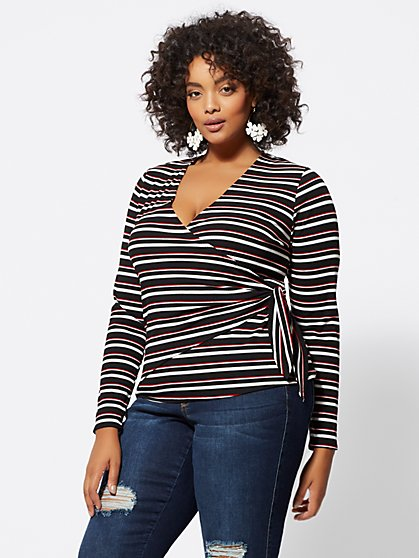 Plus Size Trina Wrap-Front Top - Fashion To Figure